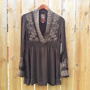 Johnny Was Embroidered Lace Trim Tunic S